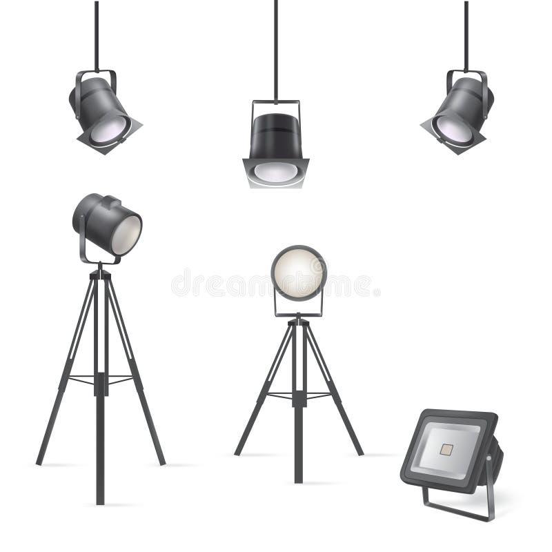 Grupo de projetores cênicos ilustração stock