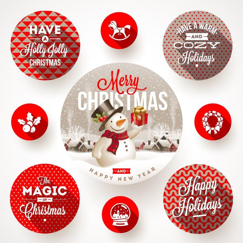 Grupo de projetos do Natal ilustração royalty free