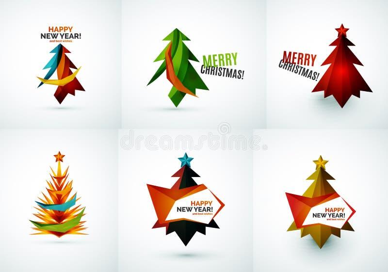 Grupo de projetos geométricos de árvore de Natal ilustração do vetor
