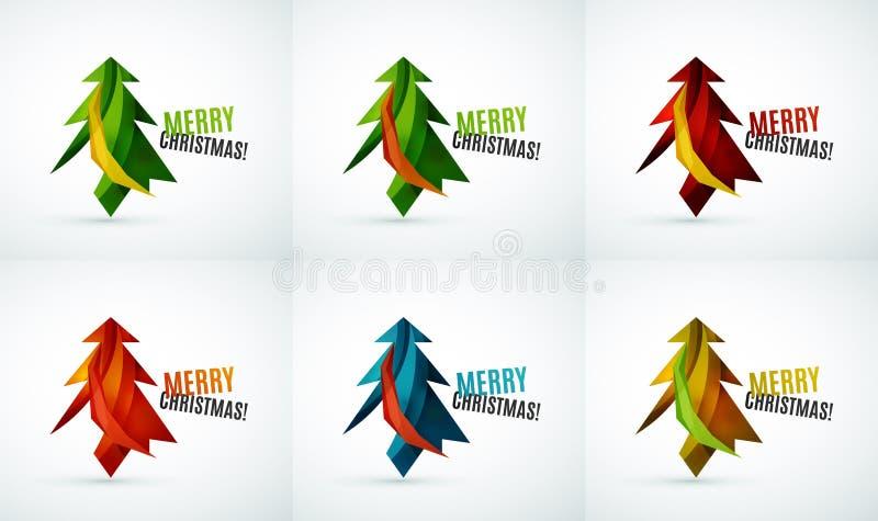 Grupo de projetos geométricos de árvore de Natal ilustração stock
