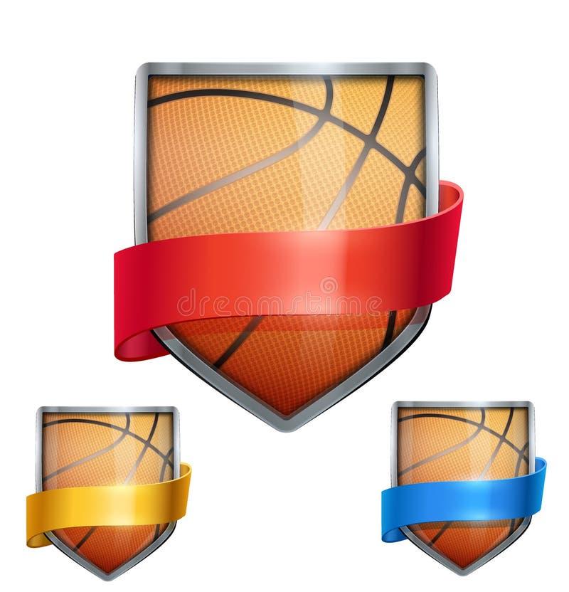 Grupo de protetor brilhante na bola do basquetebol para dentro ilustração stock