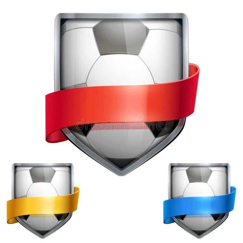 Grupo de protetor brilhante na bola do futebol para dentro ilustração stock