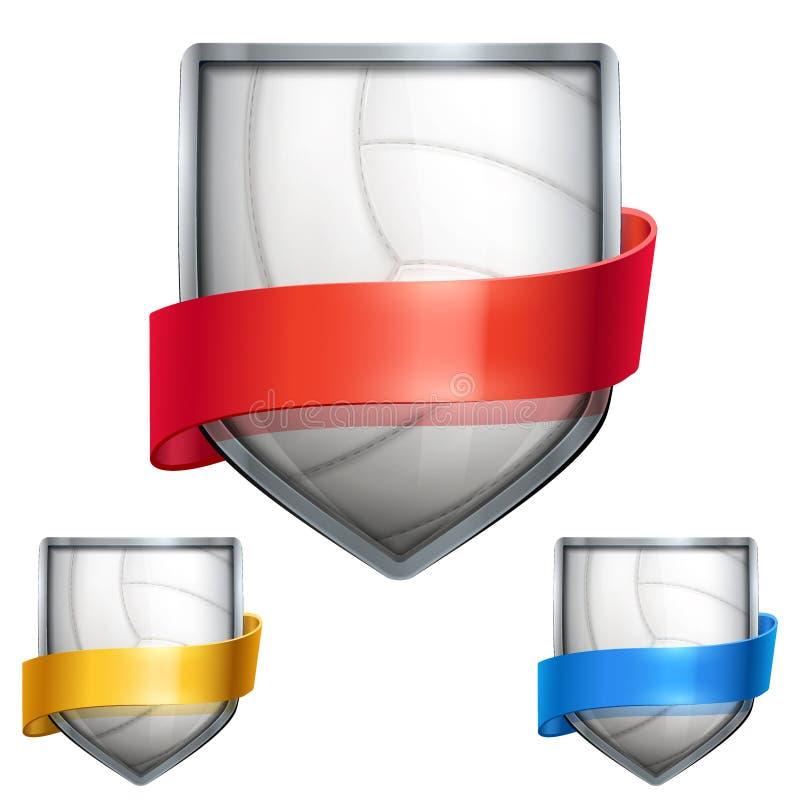 Grupo de protetor brilhante na bola do voleibol para dentro ilustração stock