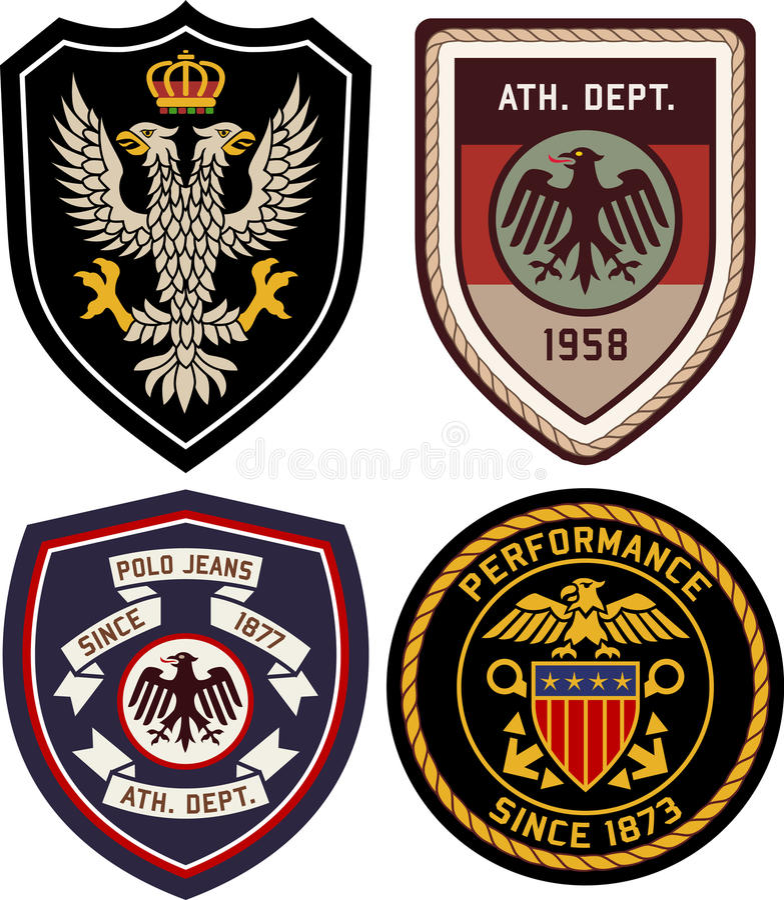 Grupo de protetor do crachá do emblema ilustração royalty free