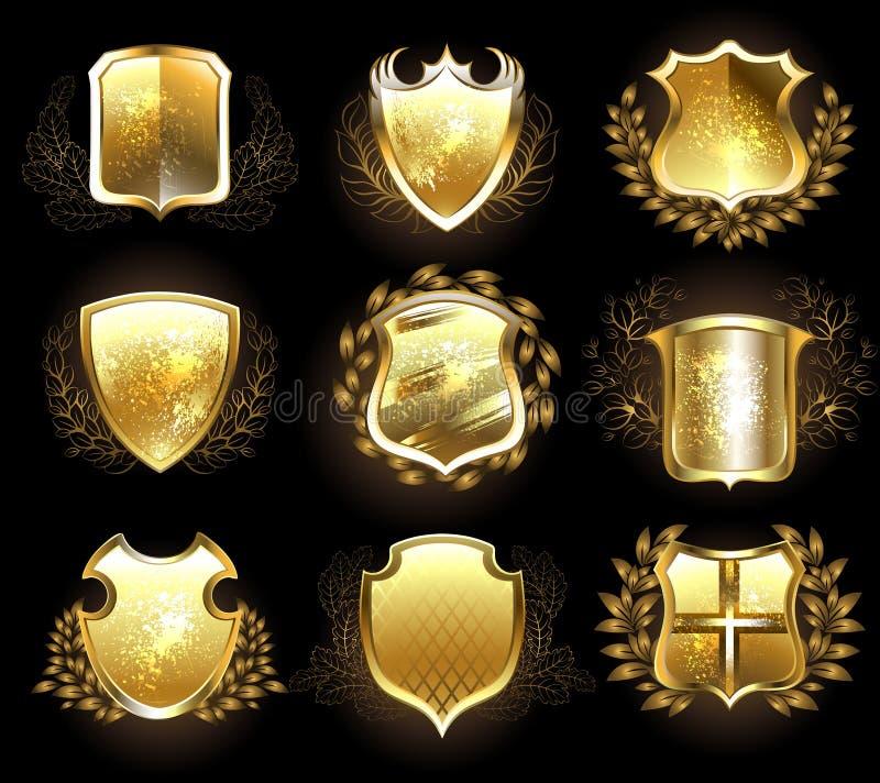 Grupo de protetores dourados ilustração stock
