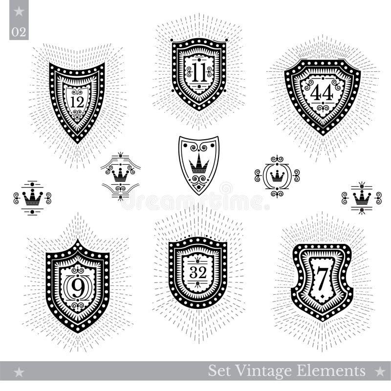 Grupo de protetores geométricos diferentes com raio claro Moldes do estilo do vintage do moderno para sinais do negócio, etiqueta ilustração stock