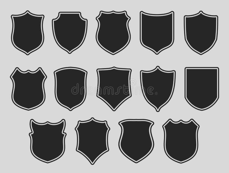 Grupo de protetores sobre o fundo cinzento ilustração do vetor