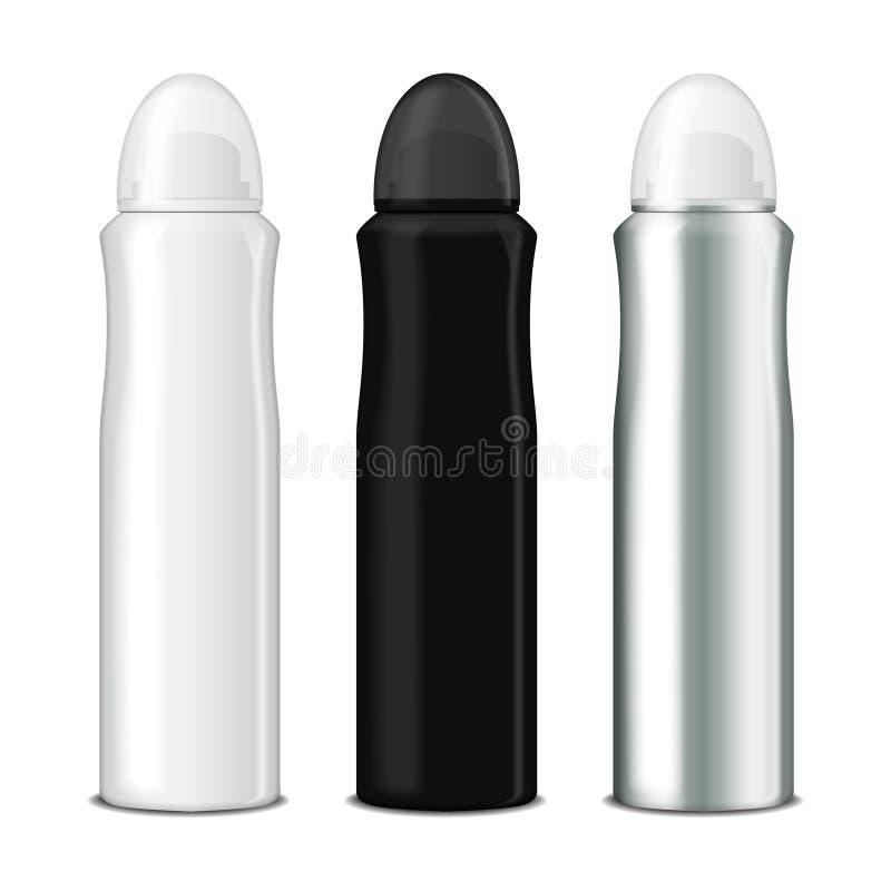 Grupo de pulverizador do desodorizante Vector o molde ascendente trocista da garrafa do metal com tampão transparente ilustração royalty free