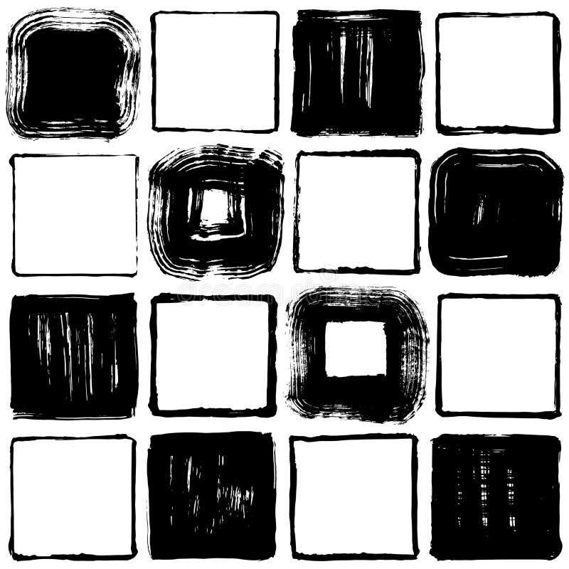 Grupo de quadrados do curso da escova Ilustrações desenhadas mão ilustração do vetor