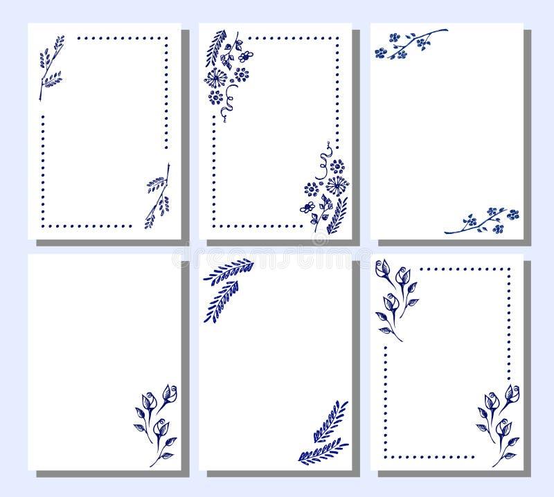 Grupo de quadro floral do vetor, cartão, beira ilustração do vetor