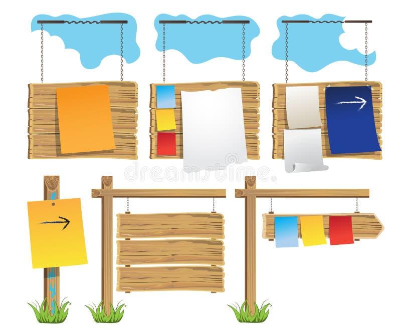 Grupo de quadro de mensagens de madeira ilustração stock