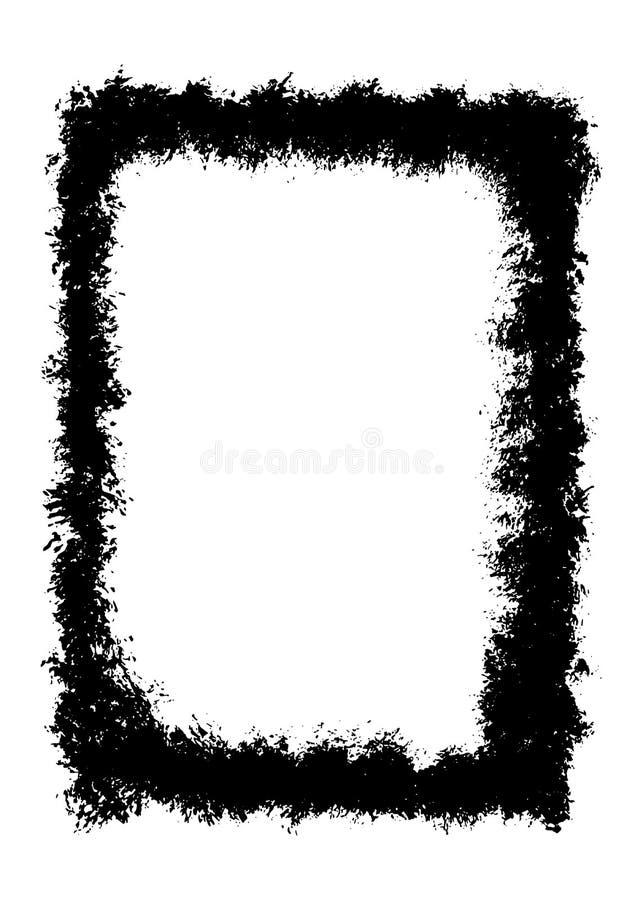Grupo de quadro retangular textured abstrato preto do vetor do grunge 9 ilustração stock