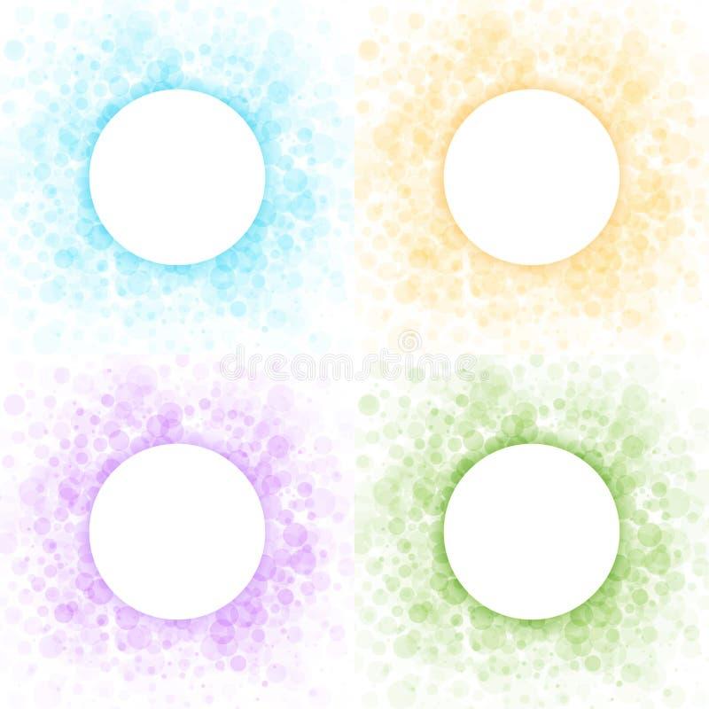 Grupo de quadros abstratos claros coloridos dos círculos ilustração do vetor