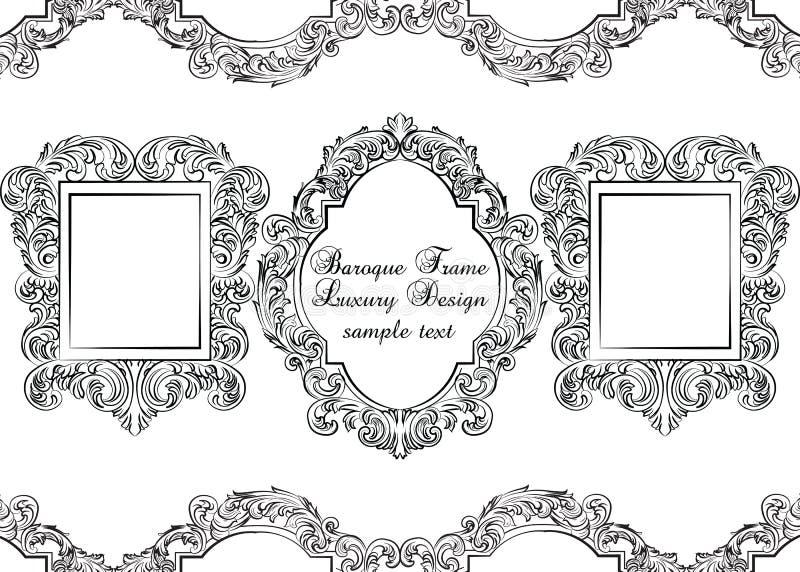 Grupo de quadros barrocos da decoração do vintage ilustração royalty free