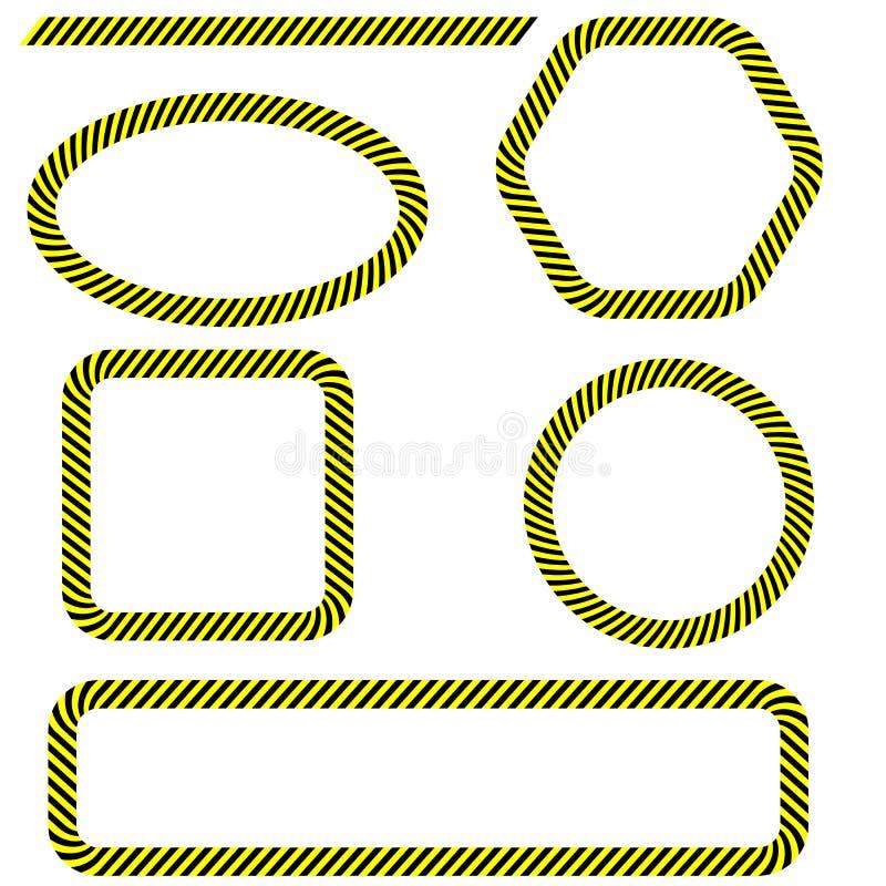 Grupo de quadros diferentes da fita do perigo ilustração stock