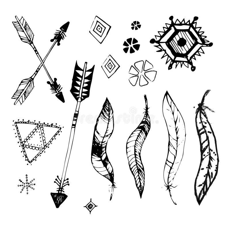 Grupo de quadros do estilo do boho com lugar para seu texto Elementos boêmios tirados mão: setas, penas, grinalda, espirais, sina ilustração stock