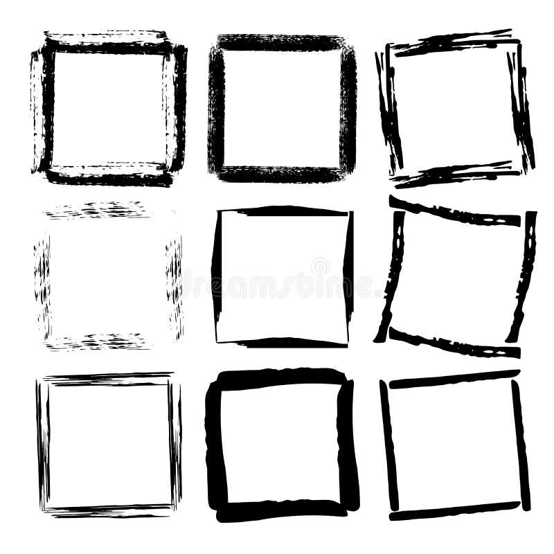 Grupo de quadros do quadrado do grunge ilustração stock
