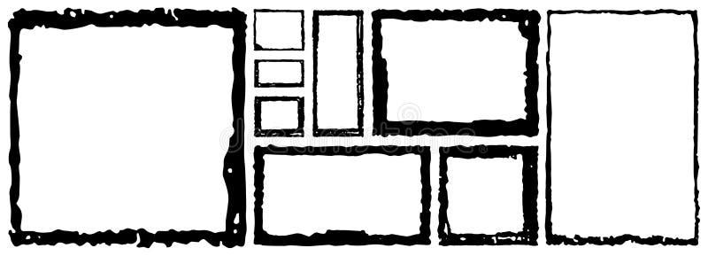 Grupo de quadros do quadrado do grunge Fundo vazio da beira A mão tira a tinta preto e branco Molde danificado aflição do vintage ilustração do vetor
