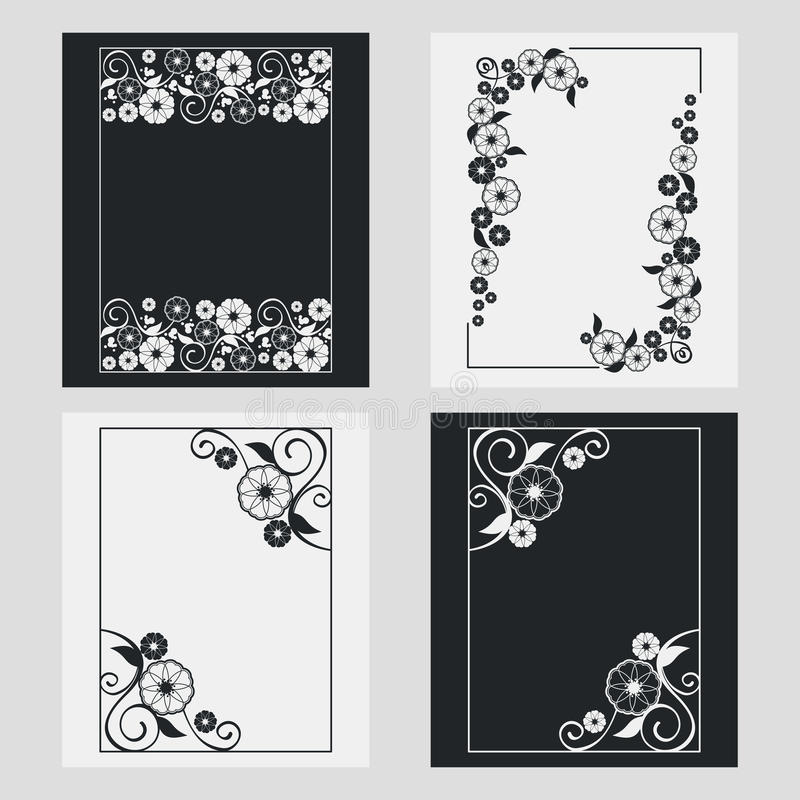 Grupo de quadros do vertical da silhueta ilustração stock
