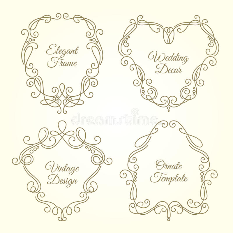 Grupo de quadros florais ornamentado no estilo linear do monograma com lugar para o texto ilustração royalty free