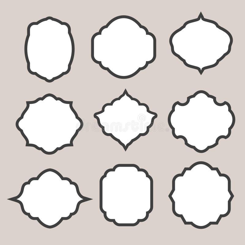 Grupo de quadros ou de cartouches da silhueta do vetor para ilustração royalty free