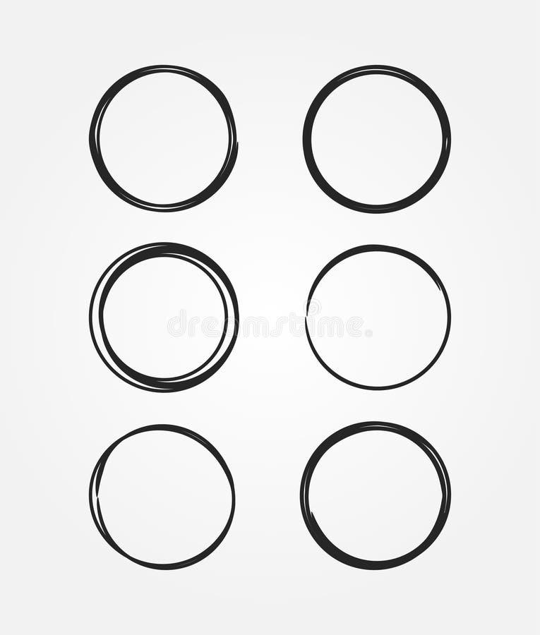 Grupo de quadros pretos redondos tirados à mão Esboço, garatuja, garrancho ilustração stock