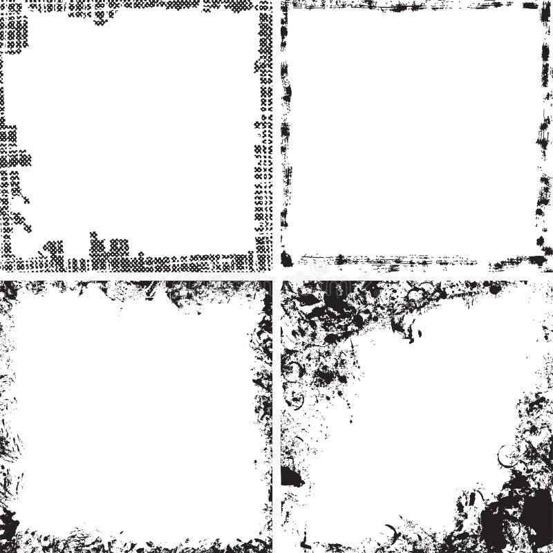 Grupo de quadros quadrados do grunge ilustração royalty free