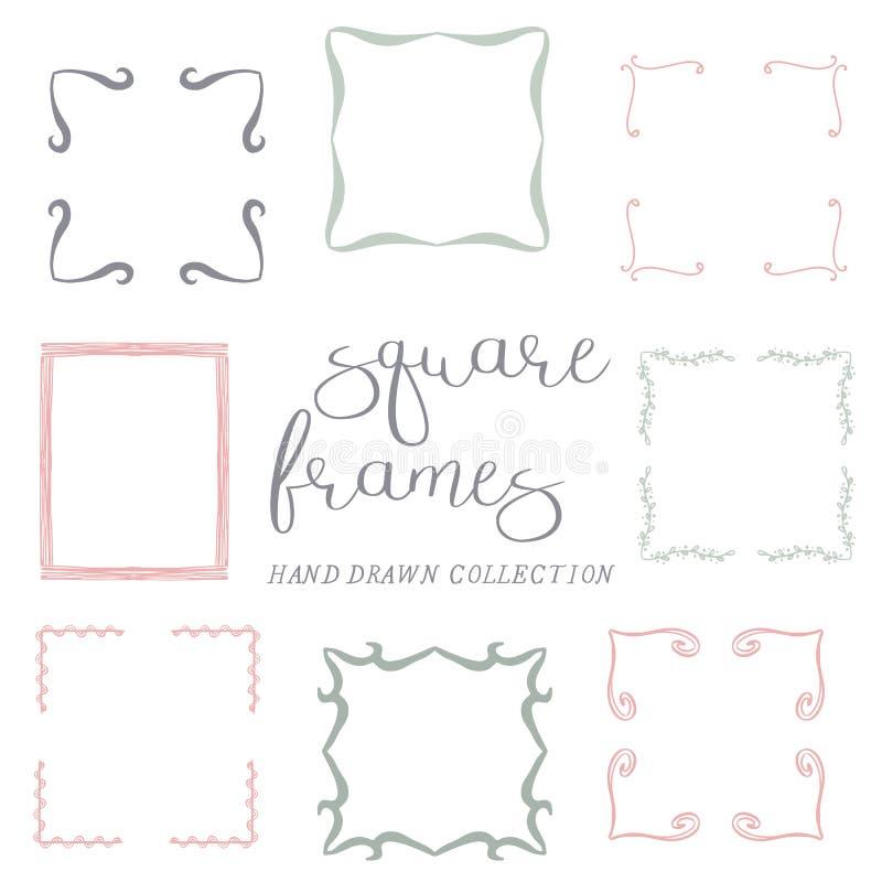 Grupo de quadros quadrados tirados mão, quadros decorativos fotografia de stock