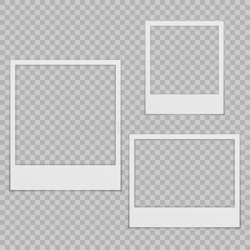 Grupo de quadros vazios da foto com sombra ilustração stock