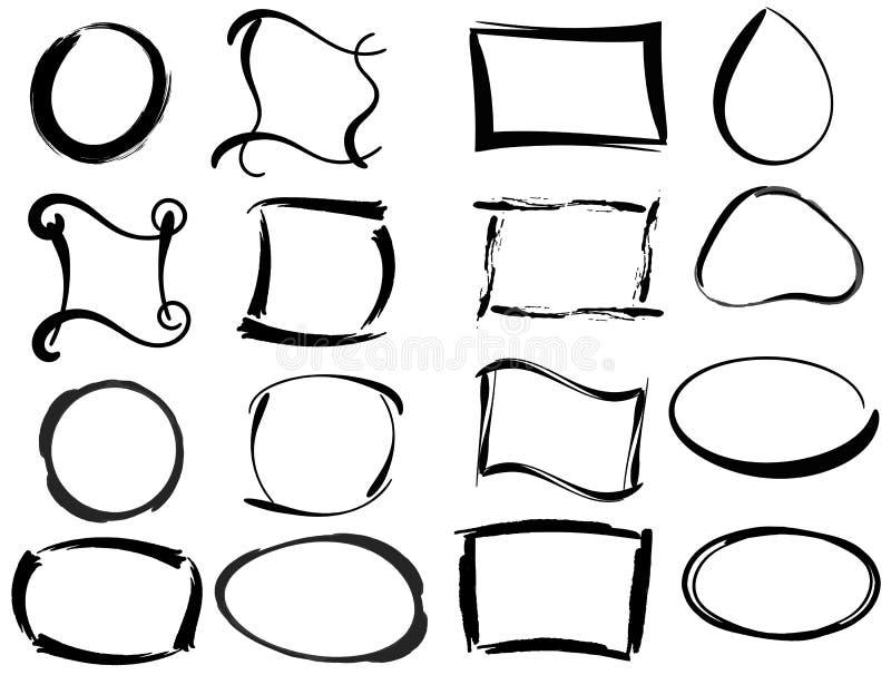Grupo de quadros vazios pretos do grunge Ilustração do vetor da escova ilustração stock