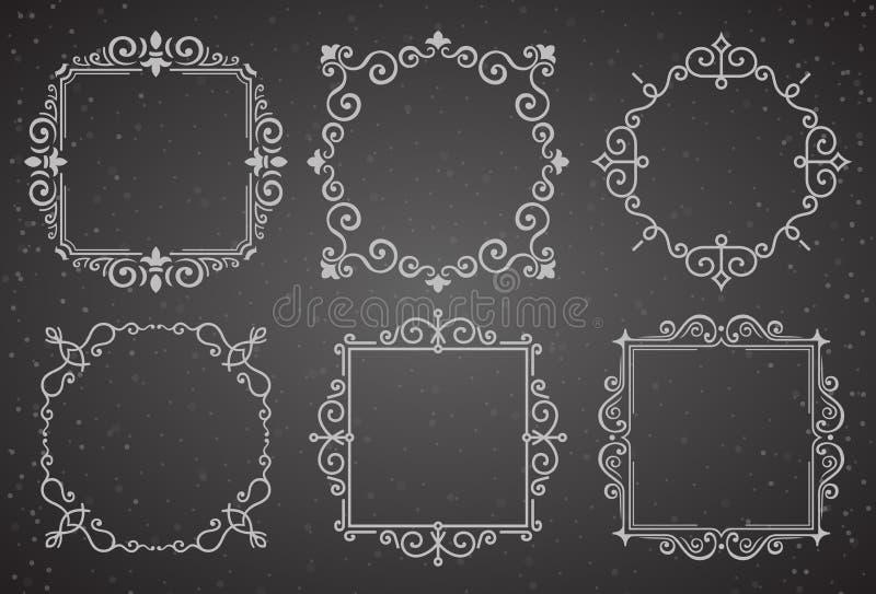 Grupo de quadros vitorianos da decoração do vintage Quadros caligráficos do ornamento dos Flourishes Coleção retro do quadro do e ilustração do vetor