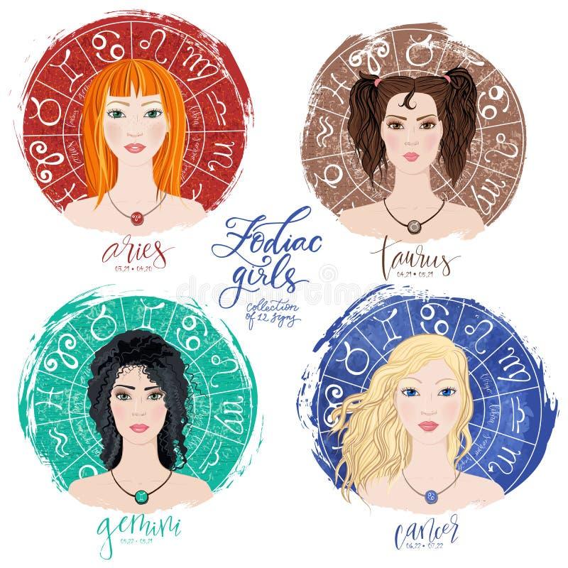 Grupo de quatro Áries, Touros, Gêmeos e cânceres dos zodíacos ilustração royalty free