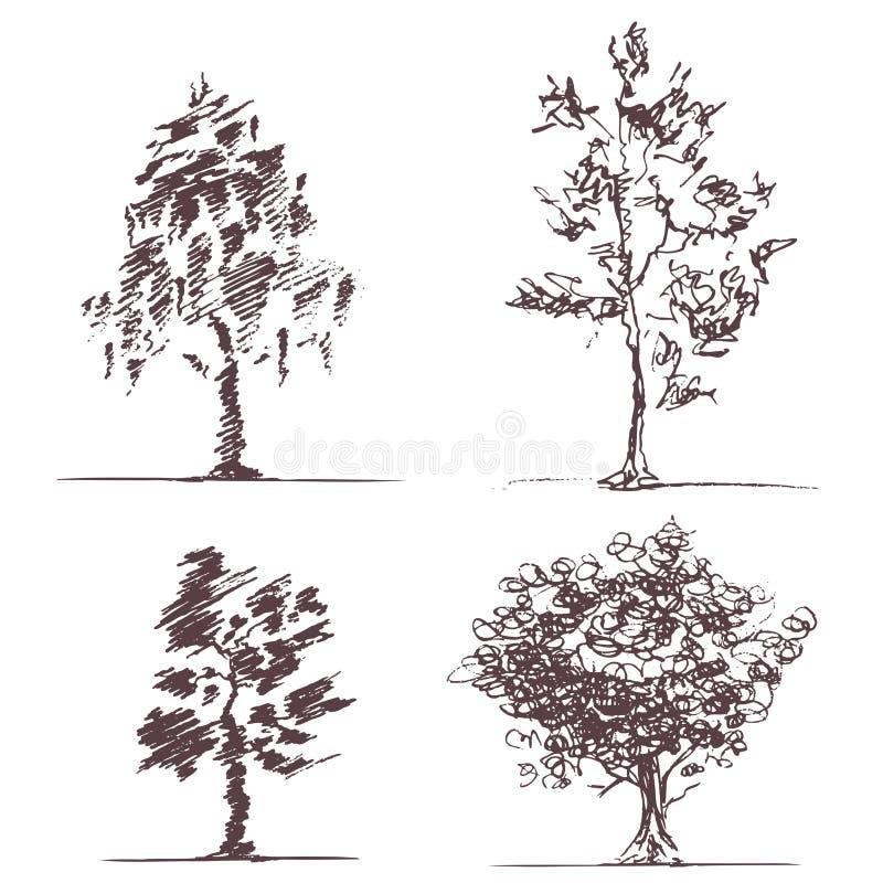 Grupo de quatro árvores dos esboços ilustração do vetor