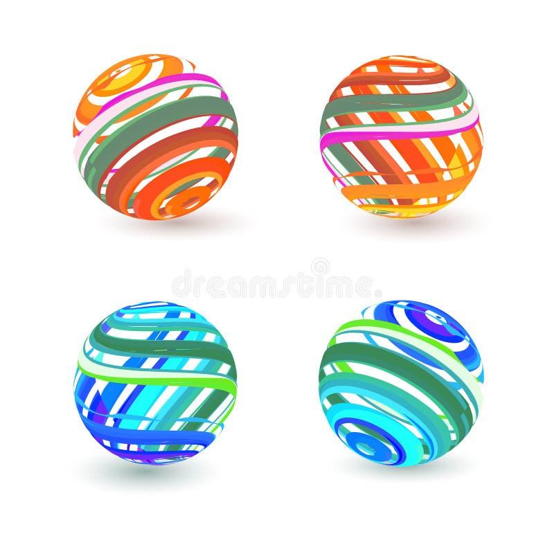 Grupo de quatro ícones da esfera do vetor 3d. ilustração stock
