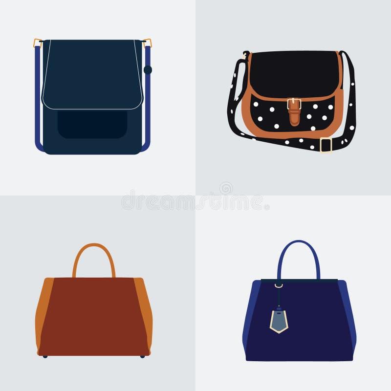 Grupo de quatro ícones lisos da bolsa diferente - grupo do vetor fotografia de stock royalty free