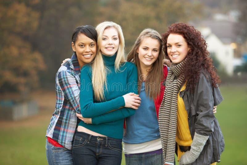 Grupo de quatro adolescentes na paisagem do outono imagens de stock royalty free