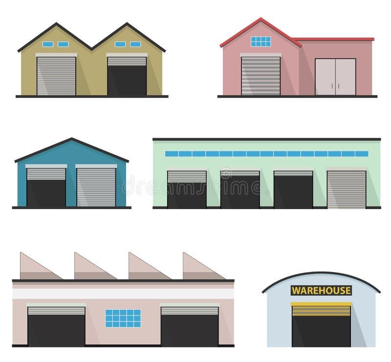 Grupo de quatro armazéns Construção do depósito ilustração stock