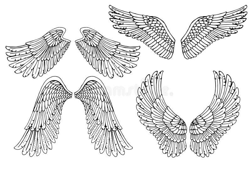 Grupo de quatro asas diferentes do anjo do vetor ilustração do vetor