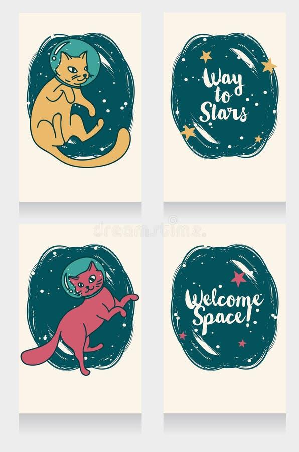 Grupo de quatro bandeiras cósmicas com gato-astronauta da garatuja ilustração do vetor