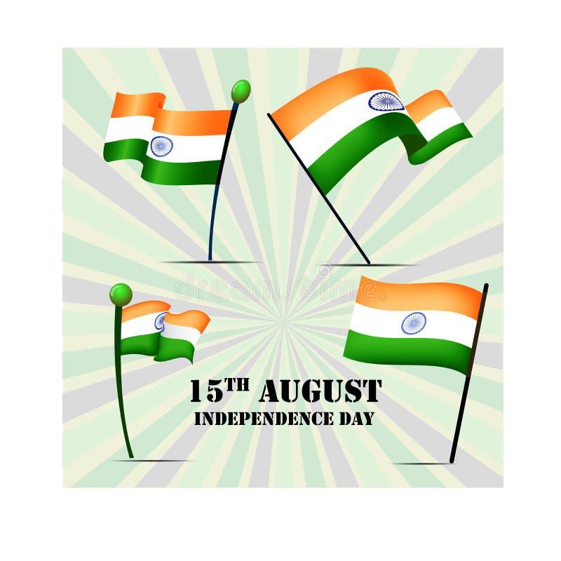 Grupo de quatro bandeiras da Índia no Dia da Independência, ilustração do vetor ilustração stock