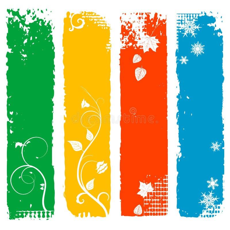Grupo de quatro bandeiras do vertical da estação ilustração royalty free