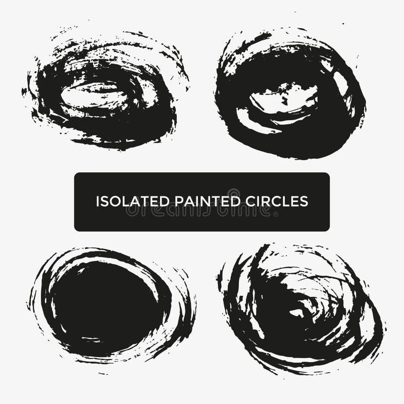 Grupo de quatro círculos pintados criativos do grunge para o logotipo, etiqueta, marcando ilustração royalty free