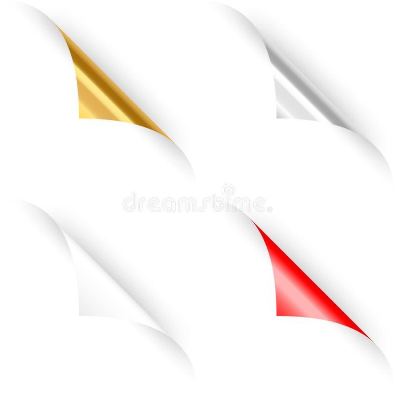 Grupo de quatro cantos de papel ondulados. ilustração do vetor