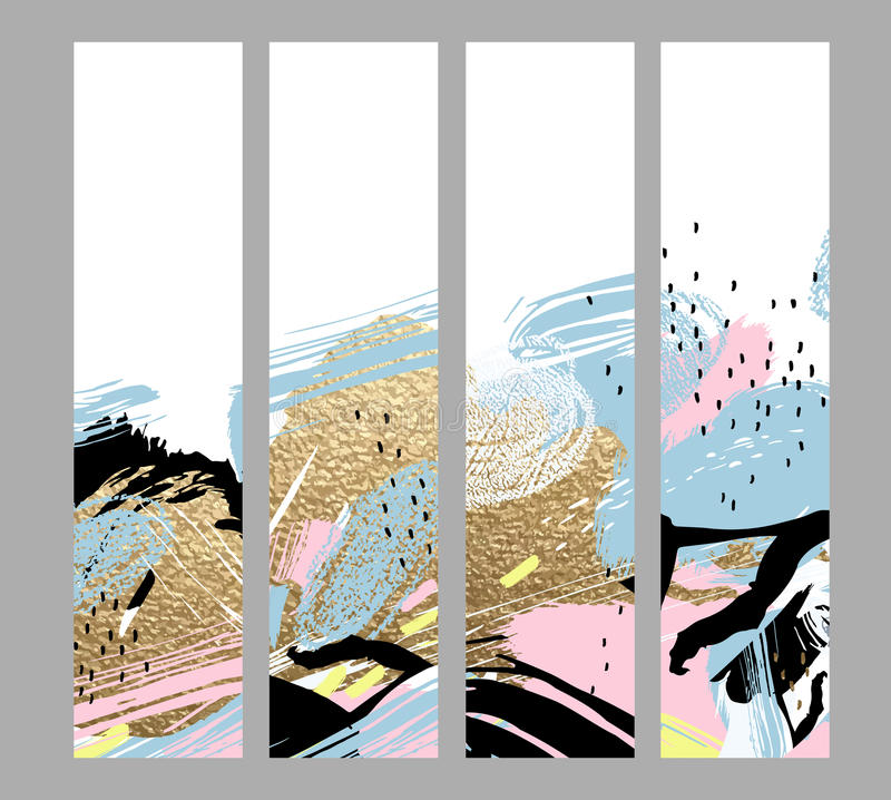 Grupo de quatro cartões criativos artísticos com elementos tirados mão das formas e das texturas do ouro no fundo branco moderno ilustração stock