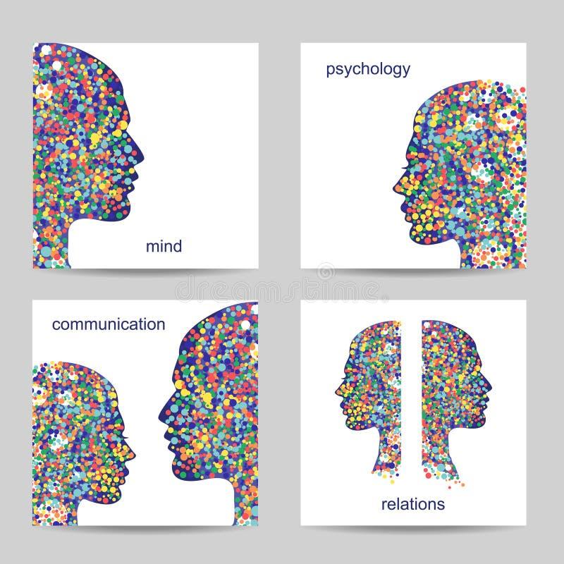 Grupo de quatro cartões quadrados Fundos coloridos abstratos à moda Ilustração do vetor ilustração royalty free