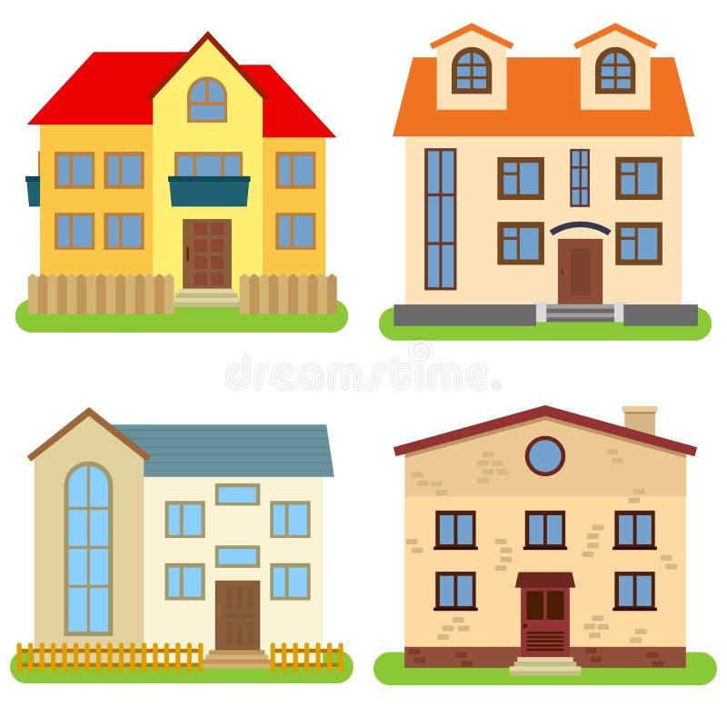 Grupo de quatro casas privadas em um fundo branco ilustração royalty free