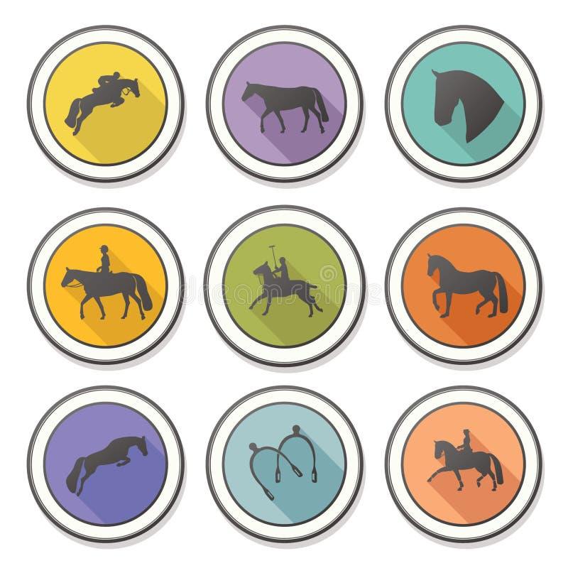 Grupo de quatro crachás equinos perfeitos ilustração stock