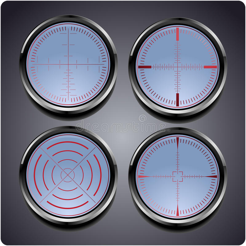 Grupo de quatro crosshairs diferentes ilustração stock