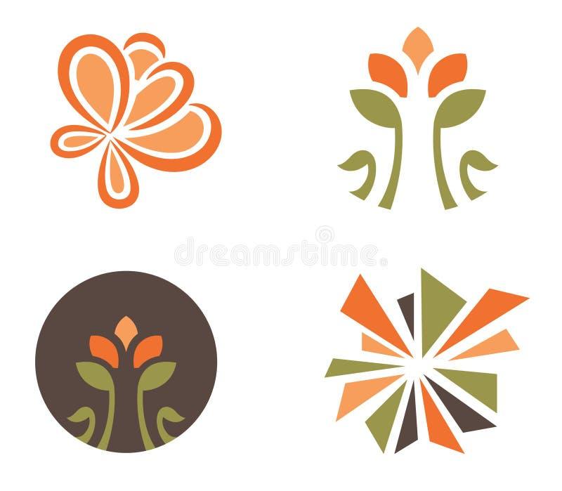 Grupo de quatro designs florais ilustração stock