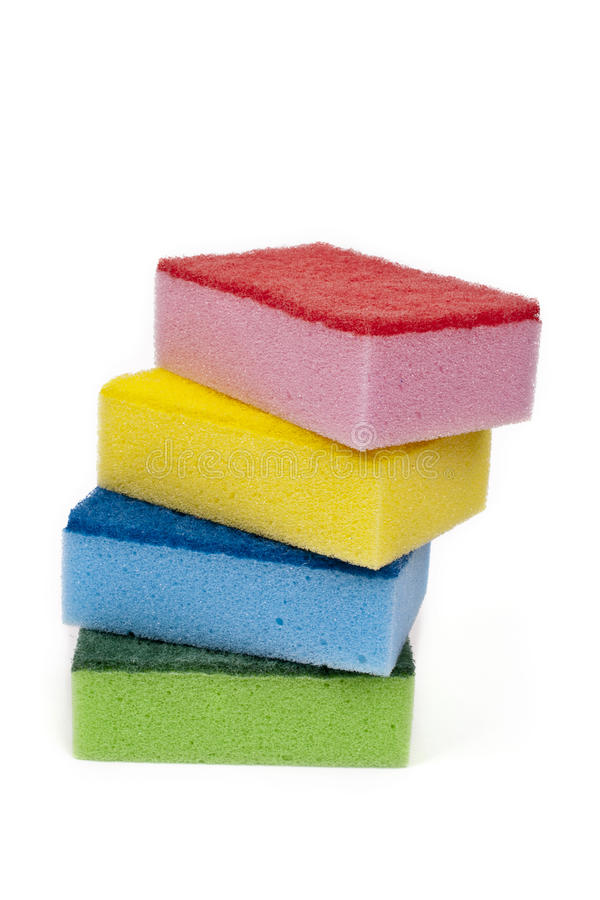 Grupo de quatro esponjas imagem de stock